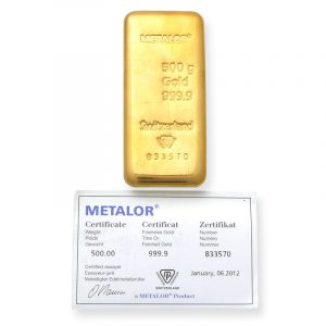 buy 500 grams gold bar metalor