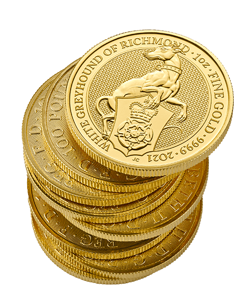 2021-Bullion-Queens-Beasts-White-Greyhound-Richmond-Gold-1oz-Coin-messy-stack-small